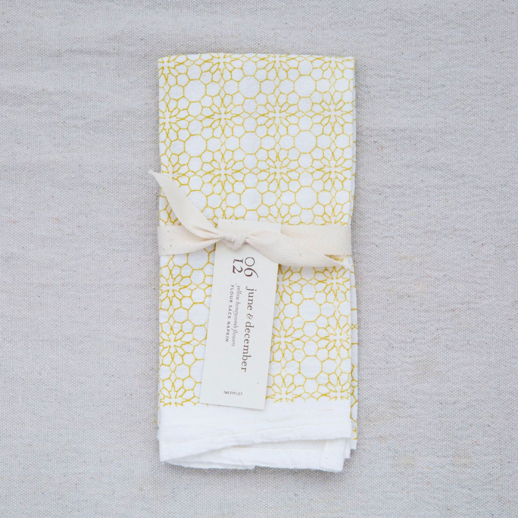 June & December - Honeycomb Flowers Napkin, Yellow