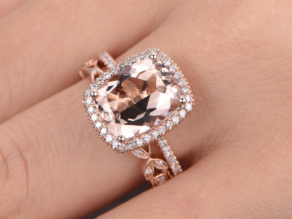 Morganite engagement ring set 8x10mm cushion cut morganite 14k rose gold full eternity floral diamond wedding band