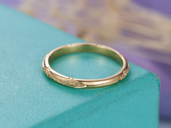 Solid 14K Yellow Gold Wedding Bands Women Vintage Floral Art Deco Diamond ring