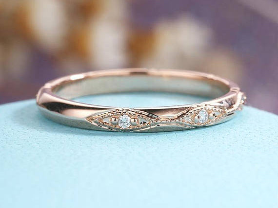 Solid 14K Rose Gold Wedding Bands Women Vintage Floral Art Deco Diamond ring