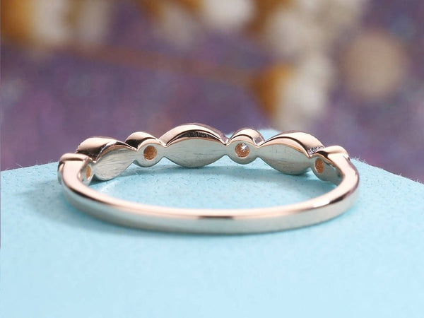 Art Deco Rose Gold Wedding Band Woman Diamond Eternity Band Unique Stacking Ring