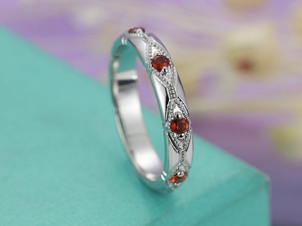 Matching Stacking Bridal Milgrain Anniversary Art deco Half eternity 14K White Gold