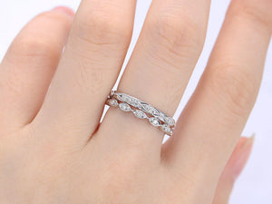 Eternity Milgrain Bridal Set Dainty Stacking Antique Alternative Stackable Promise Ring