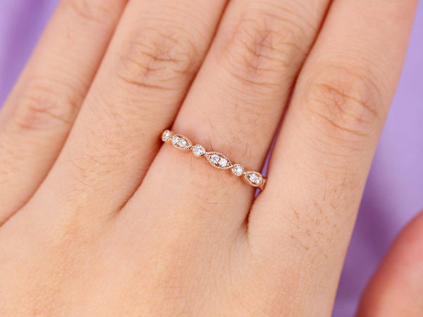 Stacking Ring Vintage Diamond Wedding Band Women Rose Gold