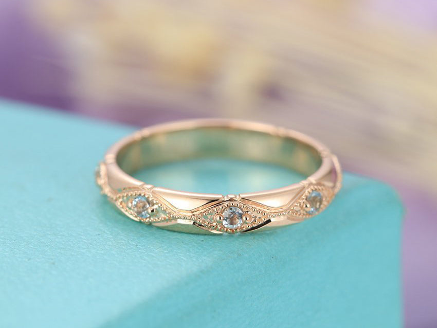 Aquamarine wedding band Vintage wedding band Rose gold Women Antique Stacking Band