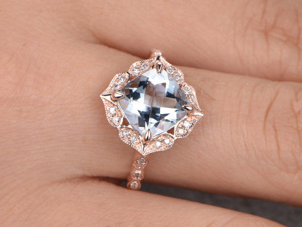 Natural Blue Aquamarine Engagement Ring 7mm Cushion Cut Aquamarine 14k Rose Gold Wedding Band