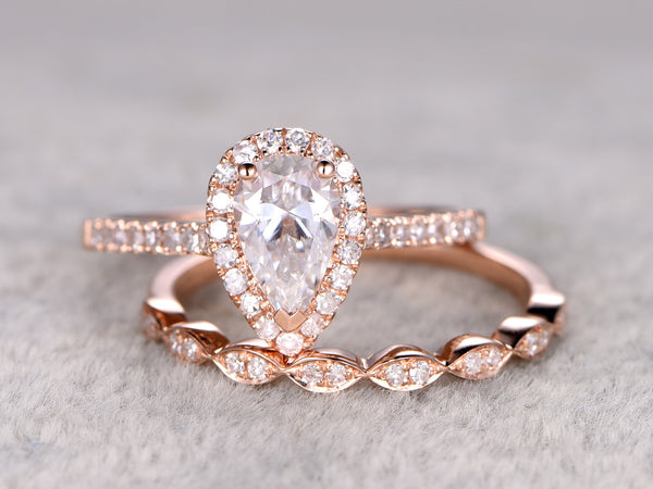Morganite engagement ring set 5X7mm pear cut moissanite half eternity diamond wedding band solid 14k rose gold