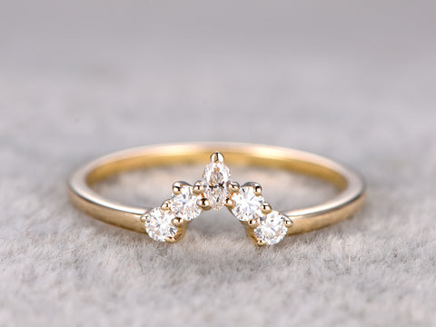 Moissanite wedding band moissanite ring 14k yellow gold curved matching band anniversary ring custom jewelry