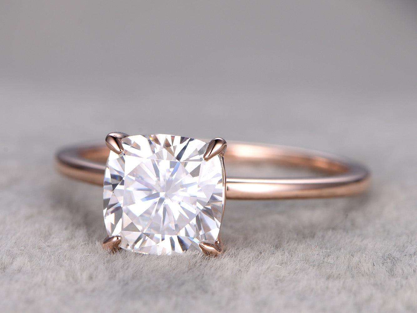 Moissanite engagement ring 6.5mm cushion cut moissanite with solid 14k rose gold plain gold band