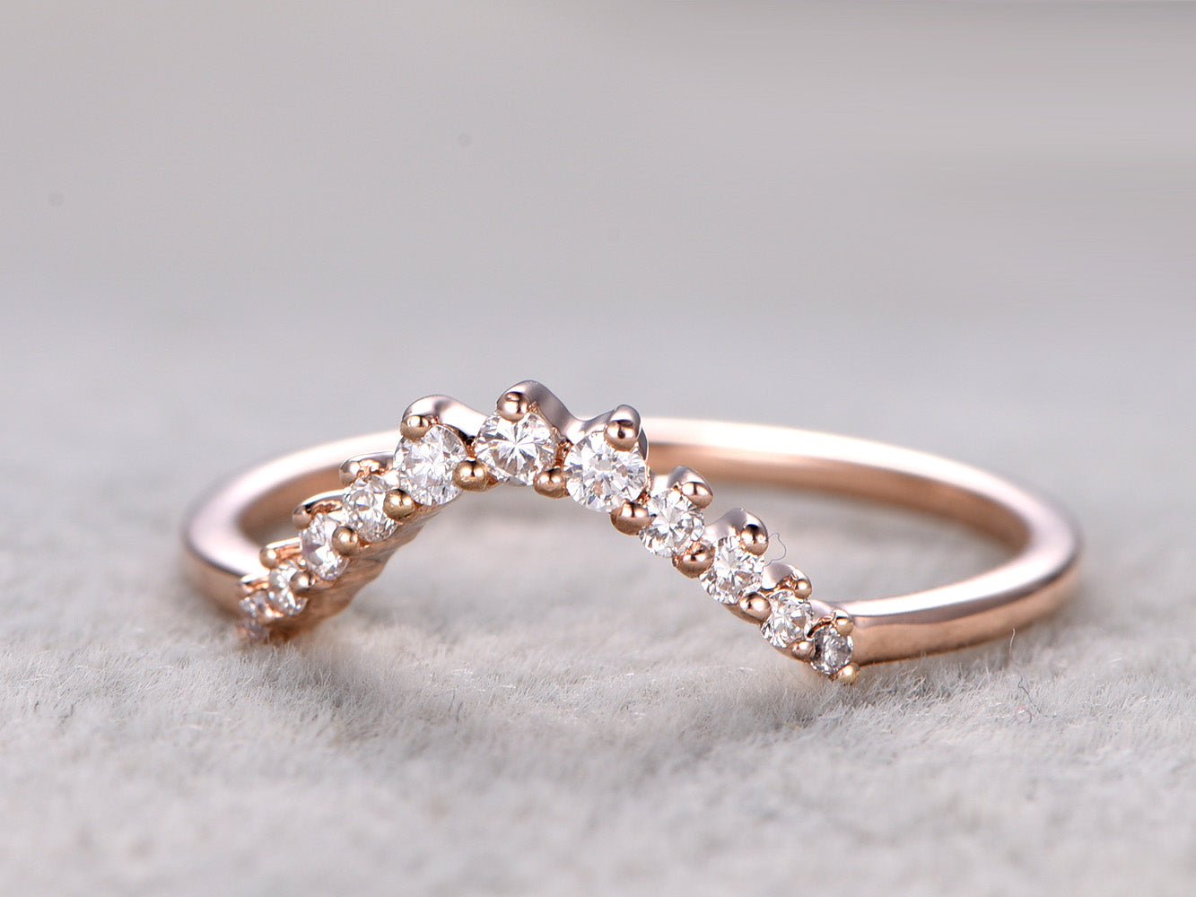 Diamond wedding band 14k rose gold curved shape diamond matching band anniversary ring custom jewelry