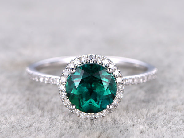 Emerald Engagement ring,Diamond wedding band,14k white gold,8mm Round Cut,Green Gemstone Jewelry