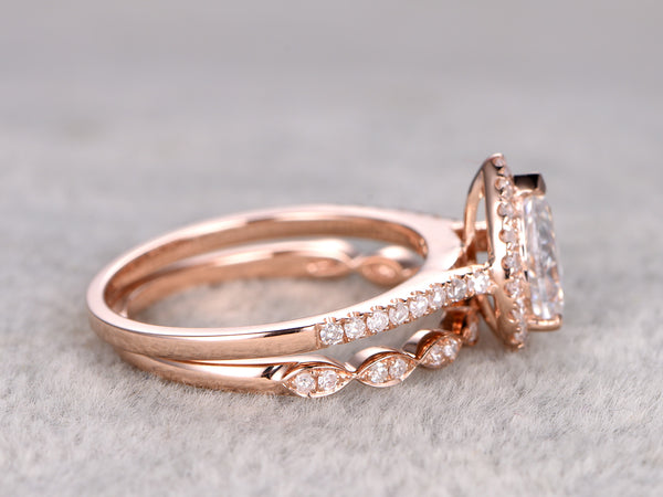 Moissanite engagement ring set 5X7mm pear cut moissanite half eternity diamond wedding band solid 14k rose gold