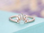 Wedding band Curved Wedding band Women Baguette diamond 14K Rose gold