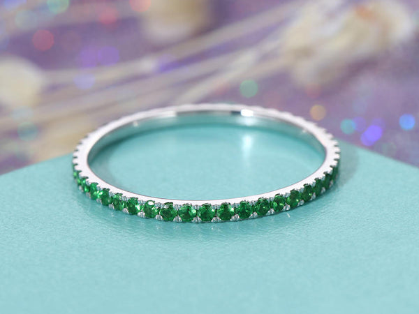 Wedding Band Women Stacking ring 14K White Gold Emerald Eternity band Bridal set