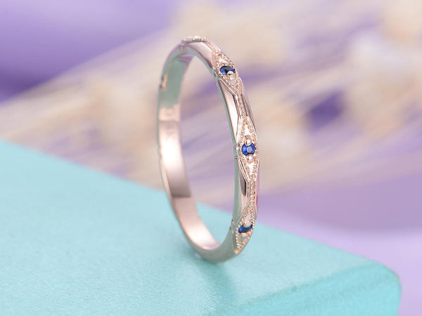 Vintage wedding band Sapphire wedding band 14K Rose gold Women Unique Antique Ring