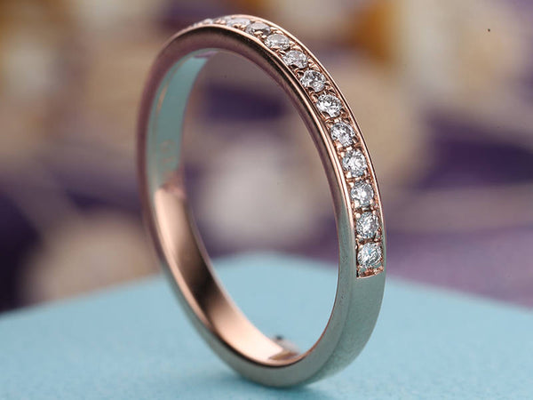 Vintage Diamond Wedding Band Women Rose Gold antique Half Eternity Band