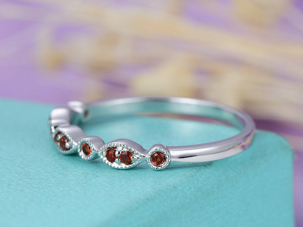 Garnet wedding band Vintage wedding band Women Milgrain Matching Stacking Band 14K White Gold