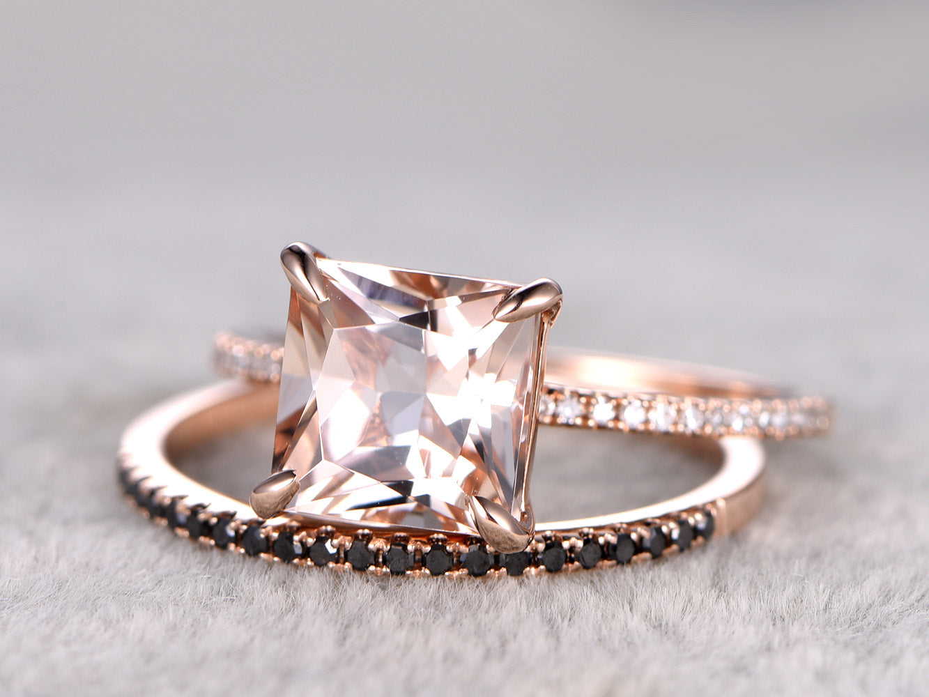 Morganite ring set princess cut morganite engagement ring half eternity black diamond matching band solid 14k rose gold
