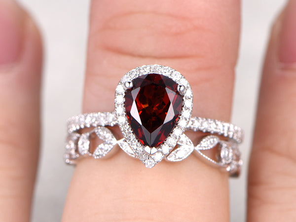 6x8mm Pear Cut Red Garnet Engagement ring set,14k Rose gold,Floral Diamond wedding band,Art Deco matching band