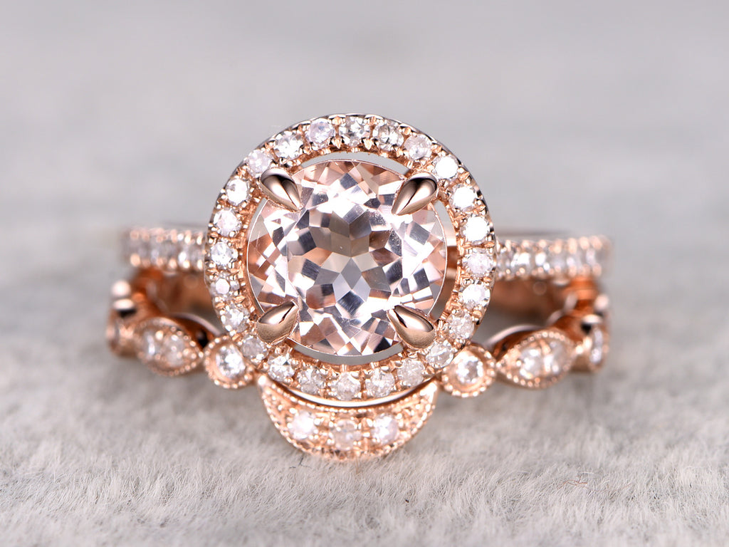 Morganite bridal ring set 8mm round cut morganite engagement ring rose gold diamond matching band solid 14k