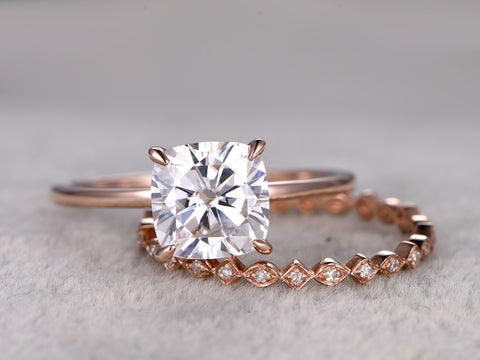 Moissanite ring set moissanite engagement ring 6.5mm cushion shape stone full eternity diamond matching band 14k rose gold