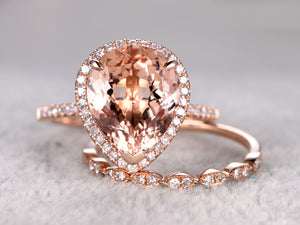 Morganite engagement ring set 10x12mm pear cut pink morgantie art deco diamond matching band 14k rose gold