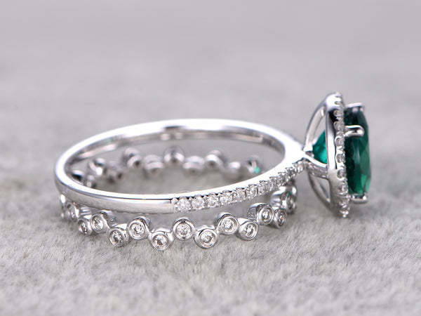 8mm Green Emerald Engagement ring white gold,Diamond wedding band,14k,Round Cut,Full eternity,bezel set band,wedding set