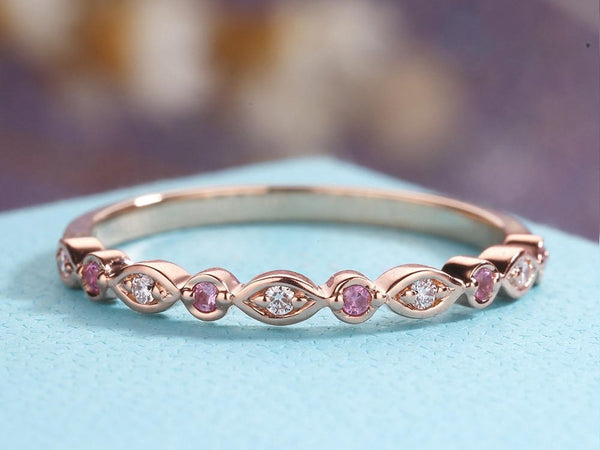 Pink Sapphire Wedding Band Rose Gold Art Deco Antique Diamond Unique Half Eternity Bridal Set