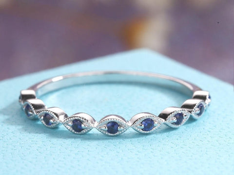 Sapphire Wedding Band women white Gold Vintage Art Deco Bridal Ring
