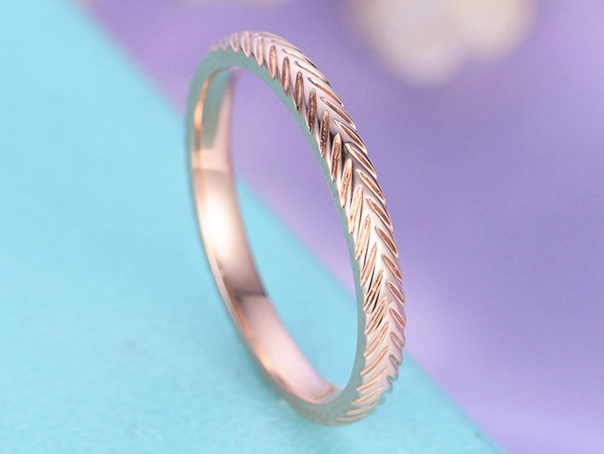 Rose gold wedding band Unique wedding band vintage Plain gold ring Simple Antique Ring