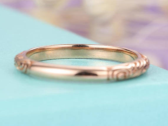 Rose gold Wedding band women vintage antique Dainty Minimalist Simple Delicate Stacking Band