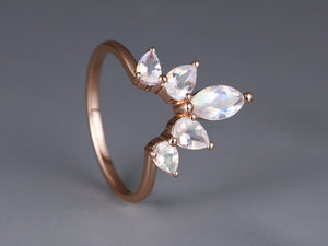 Moonstone wedding band Rose gold Women Curved Marquise cut Pear shaped Matching Band
