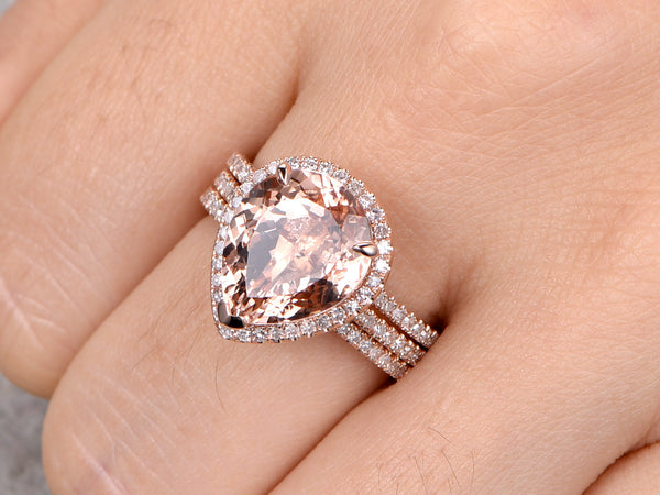Morganite ring set 10x12mm round cut morganite engagement ring rose gold half eternity diamond wedding bands 3pcs 14k