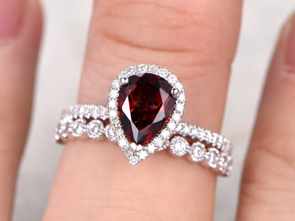 2pcs Bridal Ring Set,6x8mm Pear Cut Garnet Engagement ring,14k Rose gold,Half eternity Diamond wedding band,Milgrain matching band,Red Gems