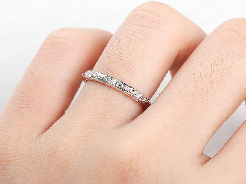 2.2mm Wedding Band Solid 14K White gold Diamond Wedding Ring Stackable Band