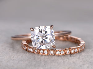 Wedding ring set moissanite engagement ring 6.5mm cushion stone full eternity diamond wedding band 14k rose gold