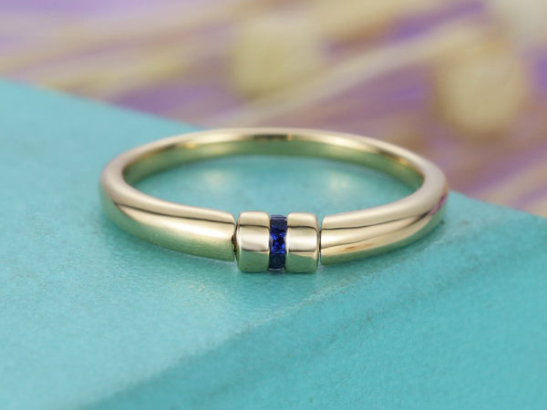 Sapphire ring Wedding band mens Princess cut Unique Stacking Jewelry Anniversary Ring