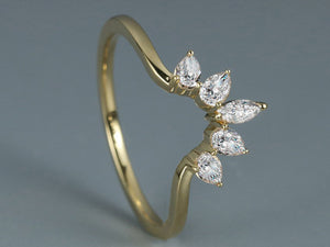 Curved wedding band women 14K yellow gold pear shaped marquise cut moissanite wedding band