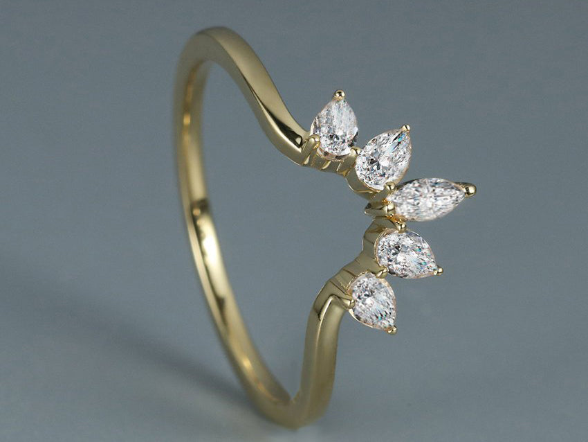 Curved wedding band women 14K yellow gold pear shaped marquise cut diamond wedding band