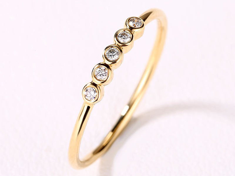 Three Five Stone Wedding Band Gold Diamond ring bezel set Minimalist Dainty Simple Stacking Band