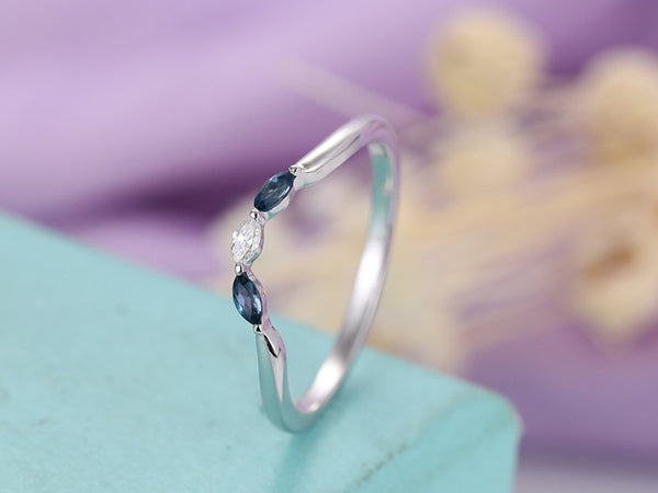 Curved wedding band Marquise cut wedding band London blue topaz ring Women Diamond Stacking Band