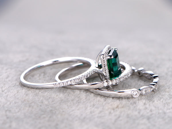 3pcs Emerald Bridal Set,6x8mm Emerald Cut Stone Engagement Ring,14K white gold,Diamond wedding band,Half eternity,Art Deco,Lab-Created Gemstone