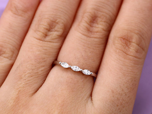 Marquise cut diamond wedding band Women Curved Unique Stacking Matching Simple Band