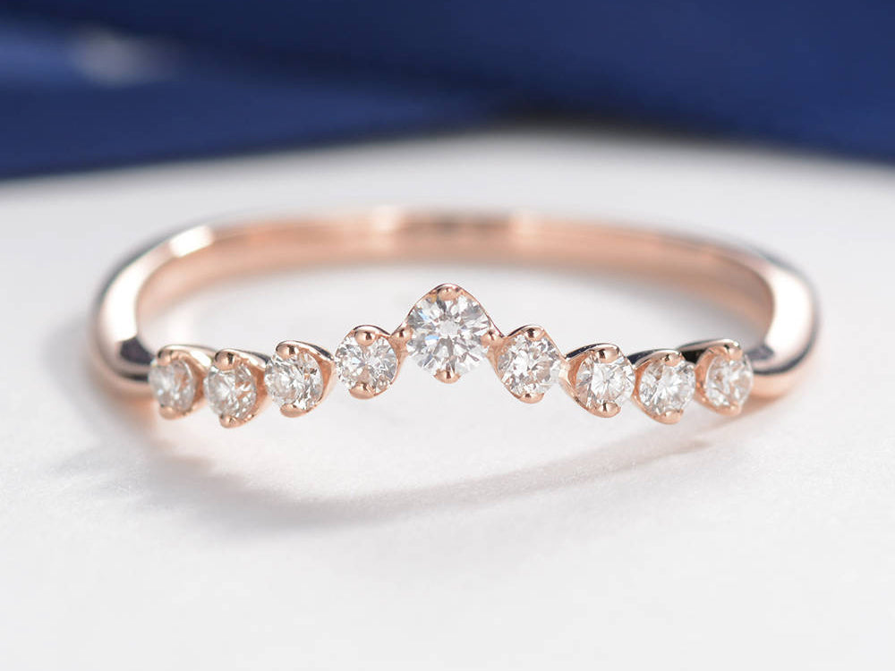 Curved Diamond Wedding Band 14K Rose Gold Women Antique Unique Eternity Band