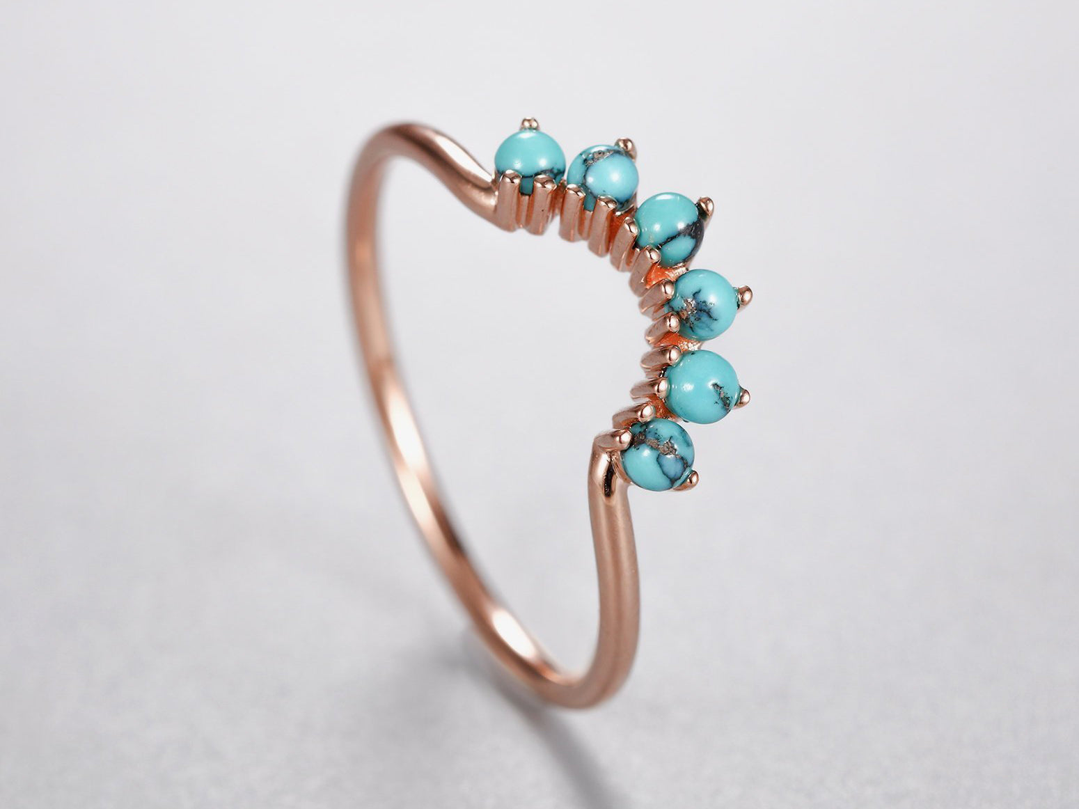 Curved wedding band rose gold women with Turquoise Unique Stacking Matching Band