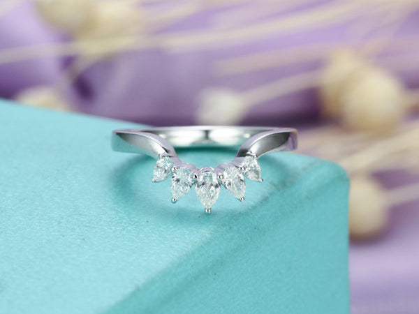 Unique Matching Bridal Anniversary gift for her Vintage Promise Chevron Ring 14K White Gold