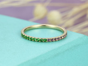 Amethyst wedding band Green Garnet wedding band Women Jewelry Stacking Band 14K Yellow Gold