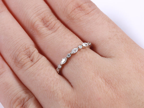Wedding band 14K white gold women marquise cut Moissanite Diamond Matching Stacking Band