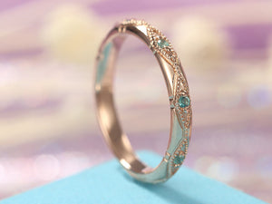 Vintage Emerald wedding band Rose Gold Women Unique Bridal Ring