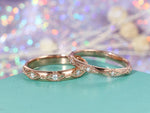 Art Deco Wedding Band Rose Gold Ring Vintage Diamond Eternity band